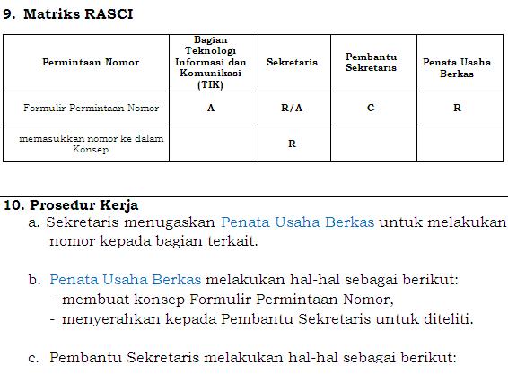 RASCI responsibility charts matriks