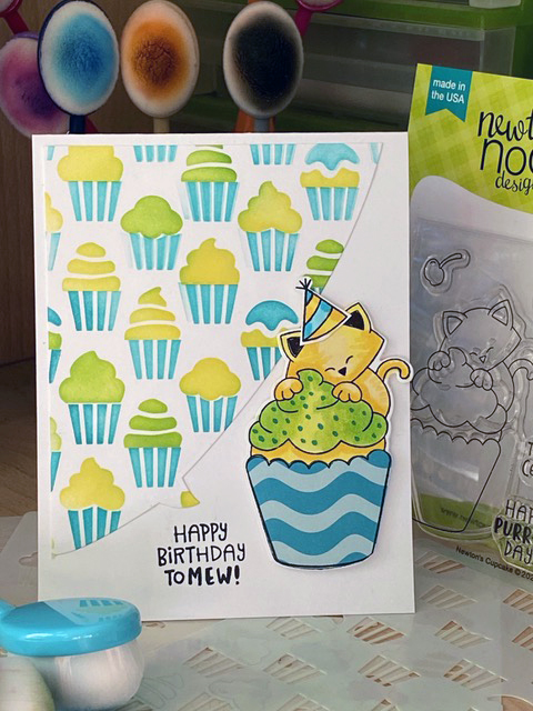Happy birthday to mew by Sue features Newton's Cupcake, Cupcake, and Speech Bubbles by Newton's Nook Designs; #inkypaws, #newtonsnook, #cardmaking, #catcards, #birthdaycards