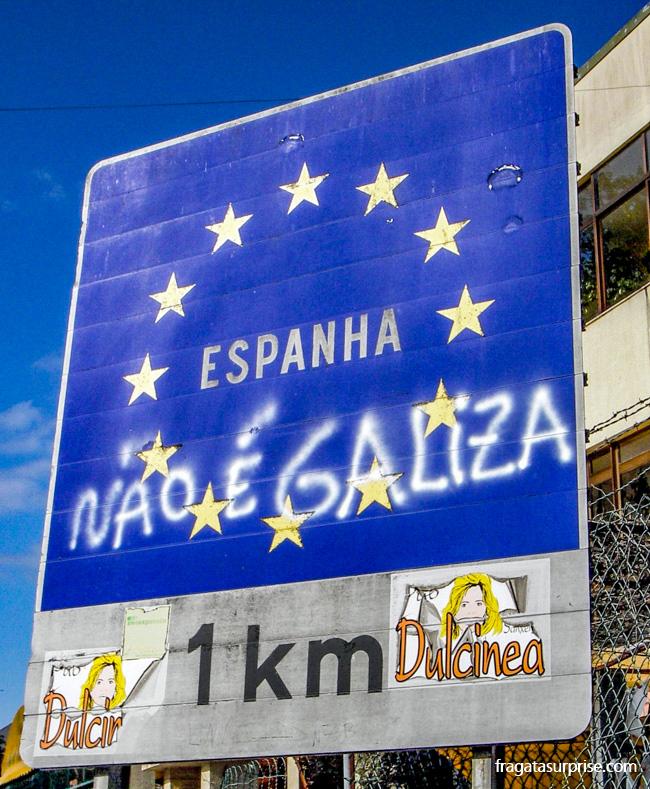 Fronteira entre Portugal e Espanha na altura de Valença do Minho e Tui