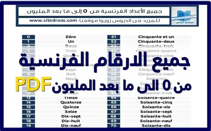 الارقام بالفرنسية pdf