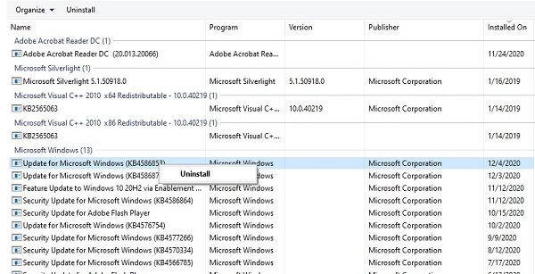 uninstall windows 10 updates