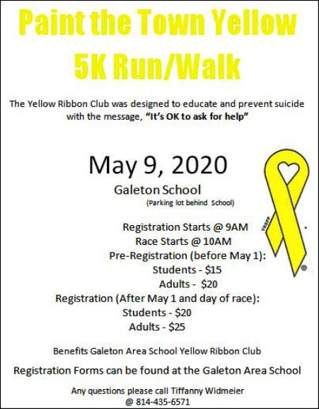 5-9 Paint the Town Yellow 5K Run/Walk