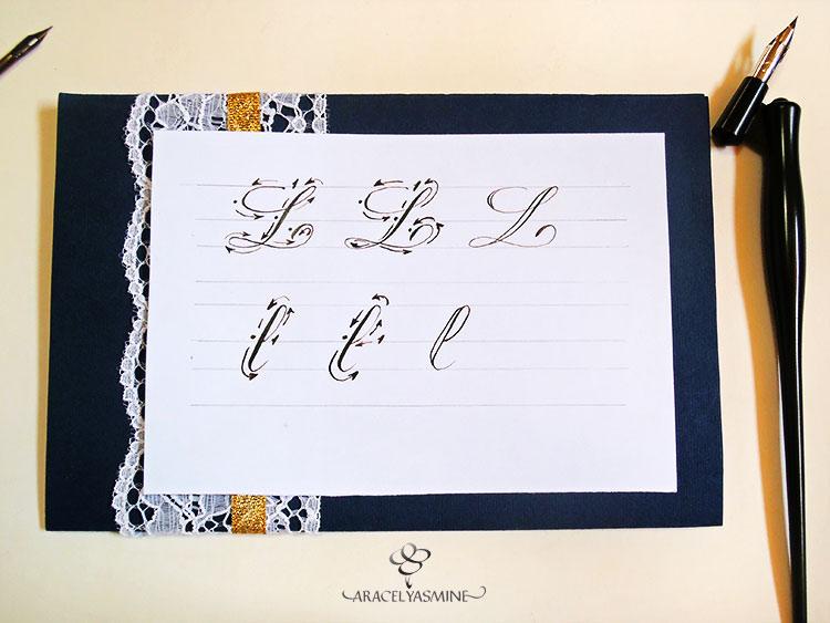 caligrafia copperplate cursiva inglesa aprende escribir letra L