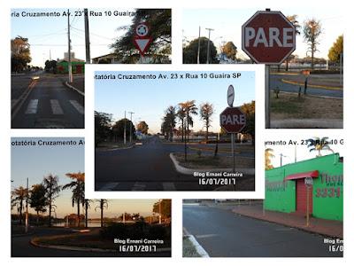 Fotos da Sinalização da Rotatória Av 23 x Rua 10 Guaíra SP