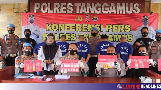 Polres Tanggamus Berhasil Ungkap Sabu Senilai 100 Juta, Bekuk 7 Tersangka
