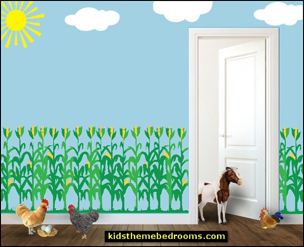corn stalk wall decal  Farm theme bedroom decorating ideas - horse theme bedroom decorating ideas - girls horse theme bedrooms - farm animals decor - Country themed bedroom - John Deere decor - John Deere bed - John Deere wall decals - Barnyard Bedroom Theme - Farm themed wall decals - farm animals kids wall decor - tractor beds