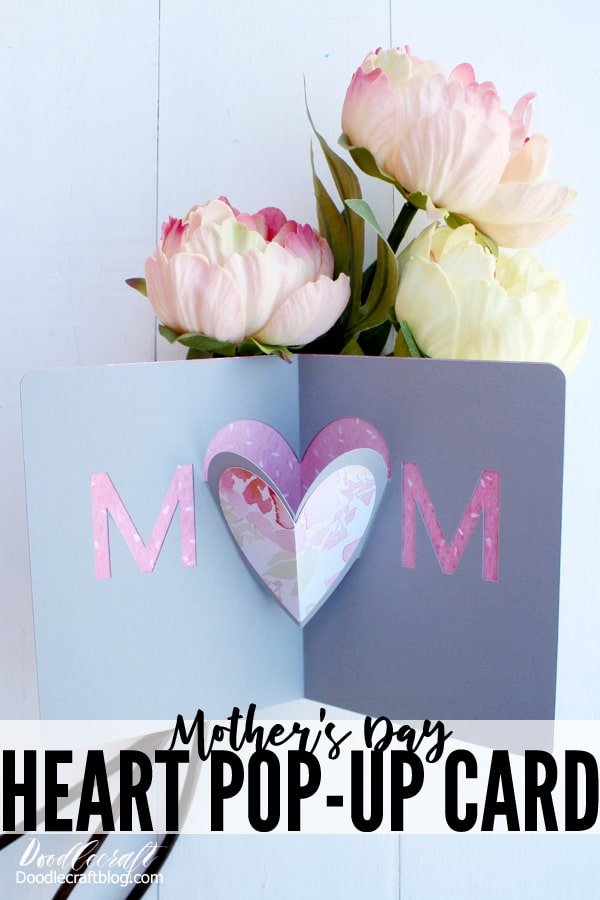 Make a beautiful Mother's Day Heart Pop-Up Card DIY with the Cricut Maker using the scoring tool.
