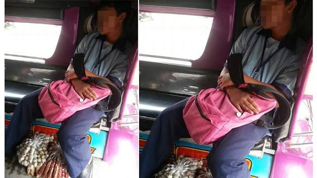 Foto Pelajar Yang Tertidur Di Angkot Ini Menjadi Viral Dan Membuat Kagum. Lihat Apa Yang Dibawanya!