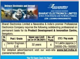 BEL Recruitment 2021 04 Senior Engineer Posts