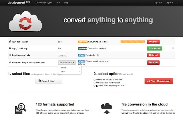 Come convertire file WEBP in JPG online Con CloudConvert