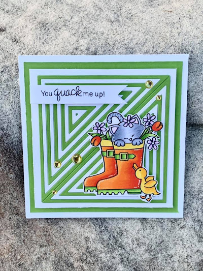 You quack me up by Alicia features Newton's Rain Boots by Newton's Nook Designs; #inkypaws, #newtonsook, #cardmaking, #springcards