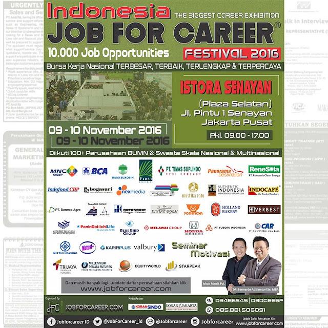Indonesia Job For Career Festival 2016  Istora Senayan Plaza Selatan Jakarta Pusat