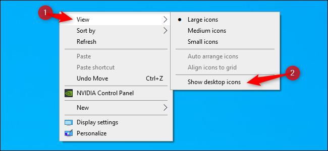 إخفاء أو إظهار كافة رموز سطح المكتب على Windows