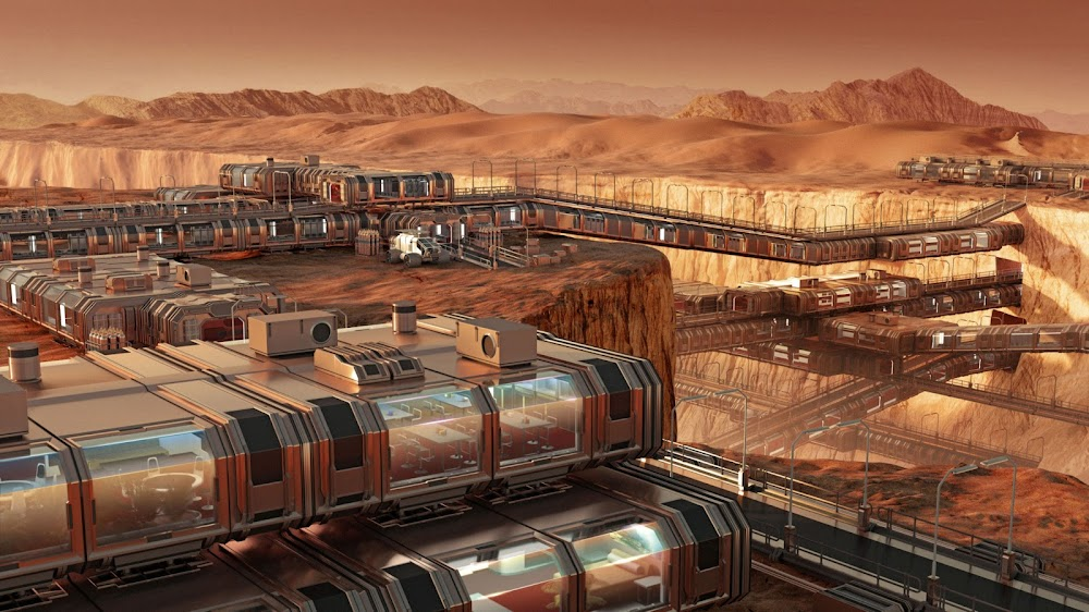 Mars colony on both sides of a canyon by Mondolithic Studios