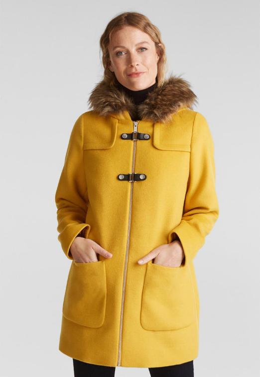 Esprit Palton femei galben de lana, cu gluga si garnitura de blana sintetica