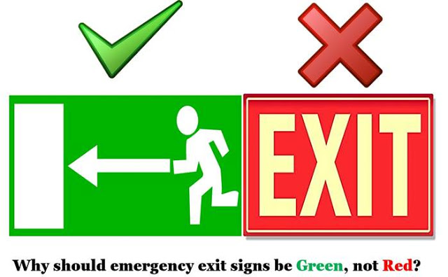 Emergency exit signs should be green and not red