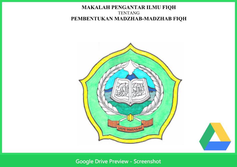 Contoh Makalah Agama Tentang Pembentukan Madzhab-Madzhab Fiqh