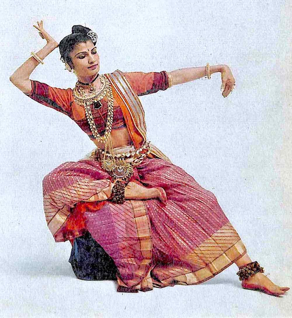 1956 dance India, a costumed woamn in a dance pose