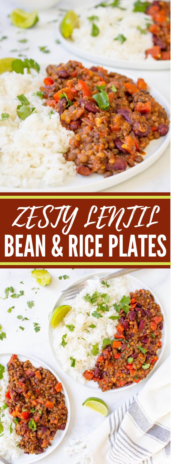 Zesty Lentil, Bean & Rice Plates #vegetarian #dinner