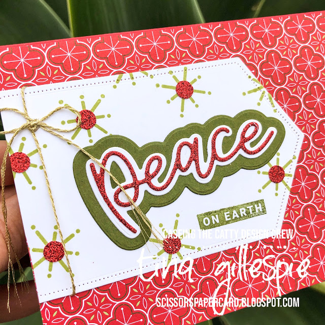 scissorspapercard, Stampin' Up!, CASEing The Catty, Peace & Joy Bundle, Heartwarming Hugs DSP, Stitched Nested Labels Dies, Glimmer Paper, Christmas