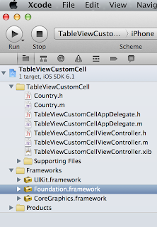 iOS custom UITableViewCell xcode project