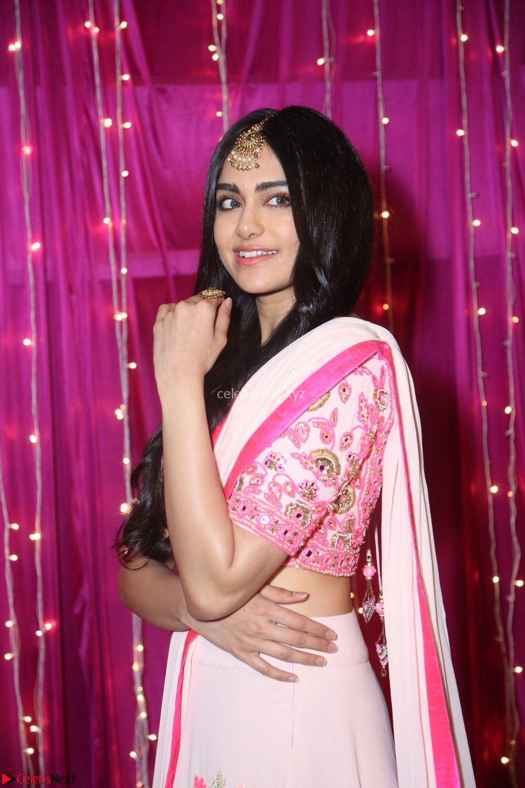 Adaa Sharma in White Pink Saree at Zee Telugu Apsara Awards 2017 9th April 2017~ CelebsNext Exclusive
