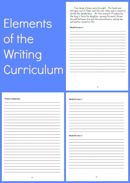 Elements of the Writing Through History Curriculum From Brookdale House