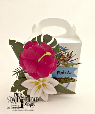 Our Daily Bread Designs Stamp Set: Aloha, Custom Dies: Bird of Paradise, Frangipani, Hibiscus, Tropical Leaves, Ferns, Ovals, Stitched Ovals, Glorious Gable Box, Pennant Flags, Paper Collection: Boho Bolds