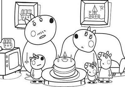 Dibujos de peppa pig de cumpleaños en familia para colorear