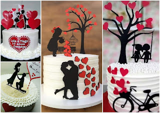 Couple with Pink Heart and Cups: Free Printable Cake Toppers