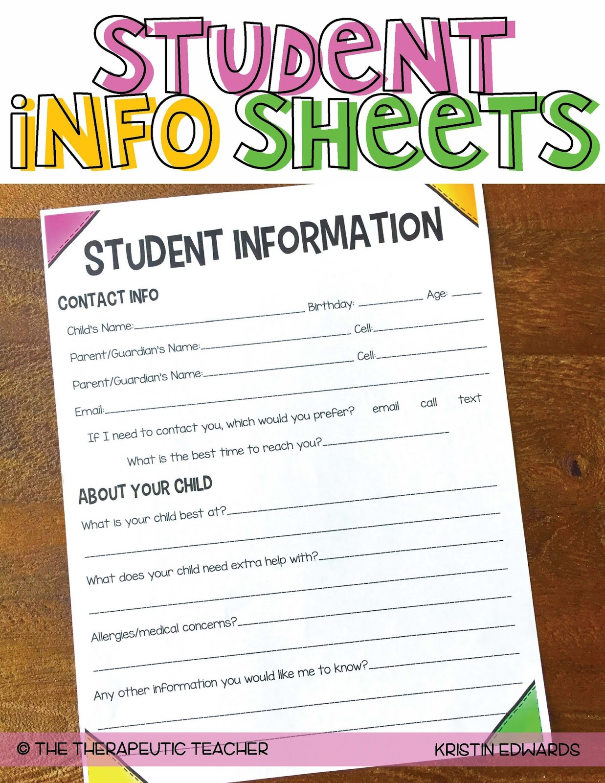 Elementary Student Information Sheets for Teachers