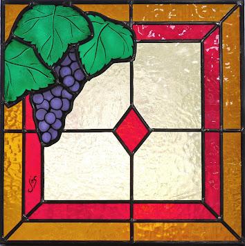 Vitrail raisin, verre et plomb, fenêtre