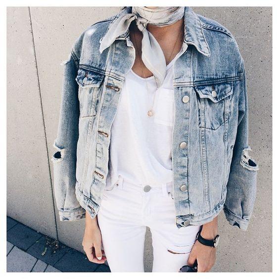 neck scarf jean jacket bandana white tee jeans