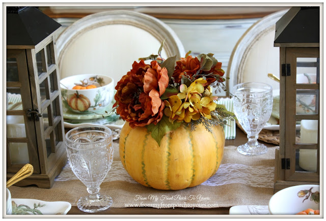 Pumpkin Centerpiece-French Country- Farmhouse-Fall Dining Room-From My Front Porch To Your