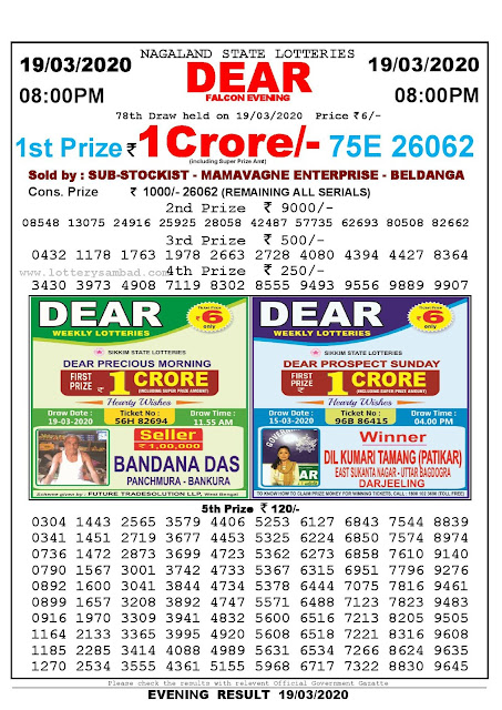 Lottery Sambad Result 19.03.2020 Dear Falcon Evening 8 pm