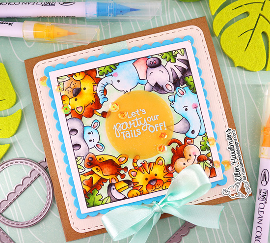 Zoo card by Ellen Haxelmans | Zoo Party Stamp Set and Frames Squared Die Set by Newton's Nook Designs #newtonsnook #handmade