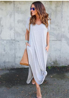Women's V Neck Short Sleeve Loose Side Slit Maxi Dress
