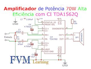Amplificador de potência de alta eficiência de 70 W com  CI TDA1562Q