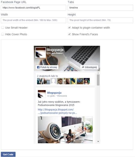 Ustawianie parametrów, pól, opcji wtyczki Facebook'a pozwalającej na polubienie bloga - fanpage