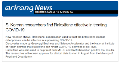 Arirang news - Raloxifene - COVID-19 (Coronavirus) treatment - South Korea