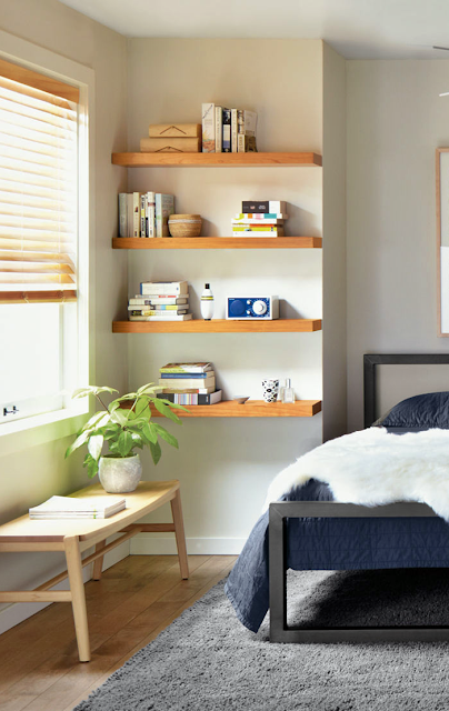wall shelving for bedroom