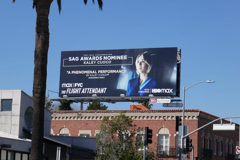 Kaley Cuoco Flight Attendant SAG nominee billboard
