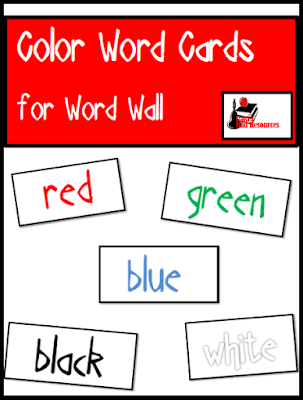 Free color word cards for your word wall, three fonts, full color, from Raki's Rad Resources.
