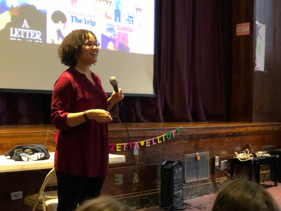 Zetta Elliott talks to students.