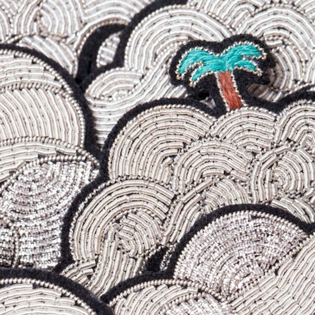 hand embroidery palm tree