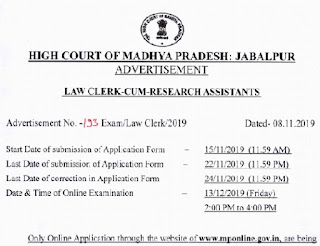 MP HIGH COURT STATUS LAW CLERK RESULT
