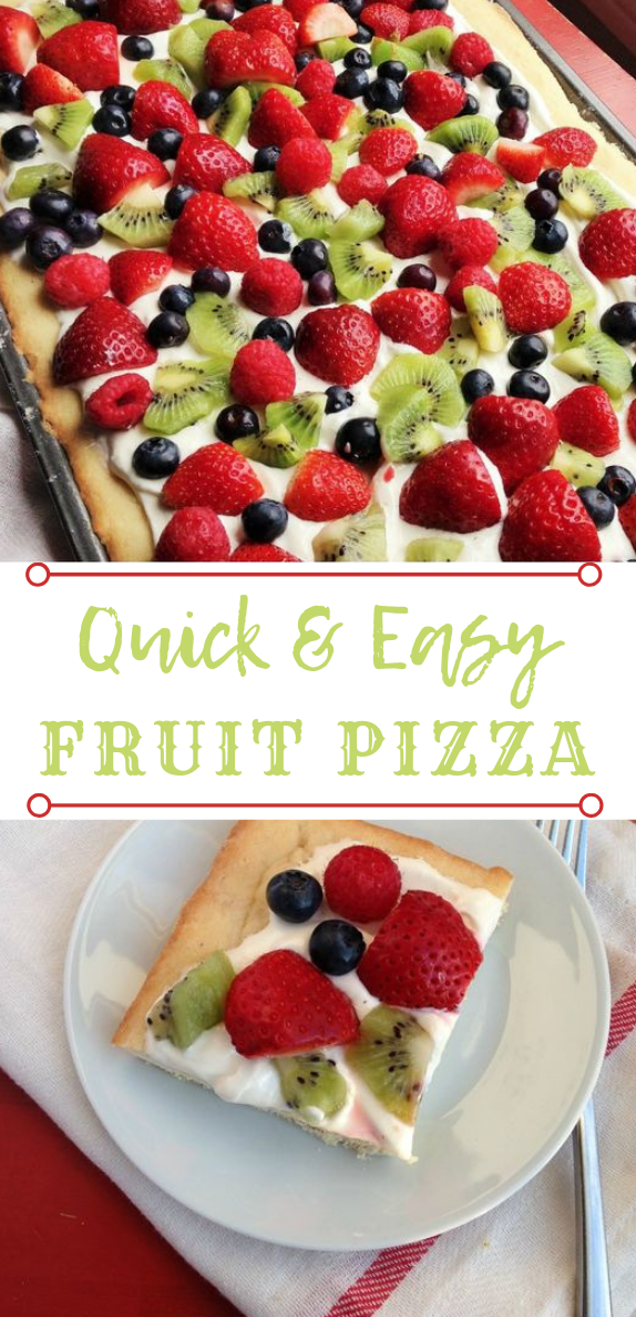 Quick and Easy Fruit Pizza #easy #dessert #cake #pizza #healthycake