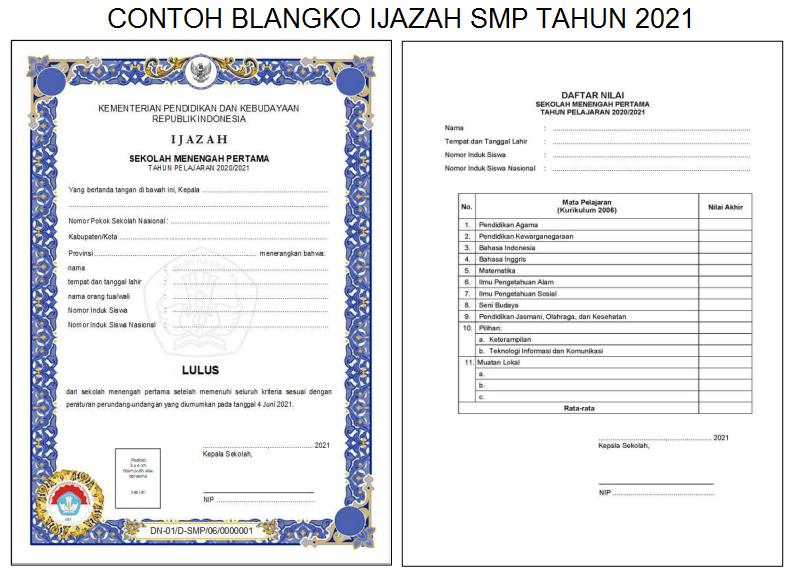Form Blanko Ijazah SMP