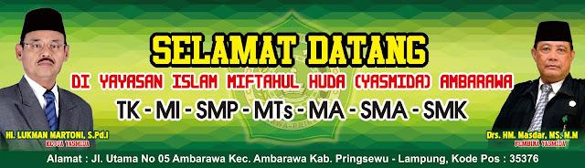 Desain Banner Selamat Datang di Sekolah Yasmida Ambarawa