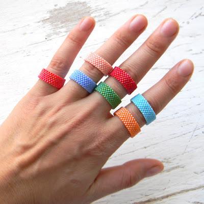 Кольца из бисера - peyote rings
